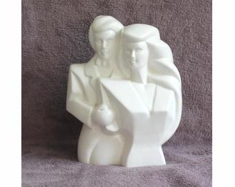 80's white ceramic Man and Woman figurine, ornament. Bridal couple