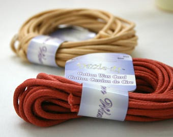 Destash - Waxed Cotton Cord Italian Red ~ Quantity: 5-Yard Coil (15 feet) 3mm Round Waxed Cotton Cord