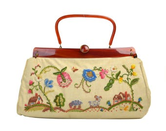 Vintage Embroidery & Faux Tortoiseshell Lucite Handbag Purse // 1950s Embroidered Pastoral Scene Flowers, Animals, Houses, Plastic and Linen