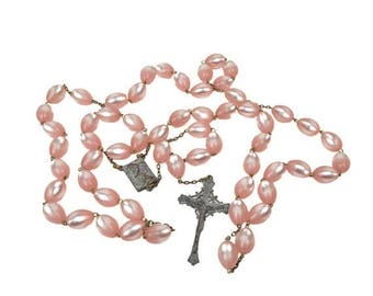 50% OFF Vintage Wall Rosary with Pink Moonglow Lucite Beads // Extra-Large 4-1/2 Feet Oversized Rosary // Mid-Century Catholic Home Decor