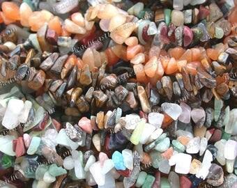 NINE (9) Strands Sale Beads, Destash Beads, Tumbled Semi Precious Stone Bead Chips, Carnelian, Tigers Eye, Mixed Stones  DS-899