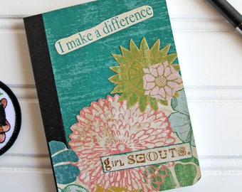 Green Girl Scout Mini Journal with Flowers, Altered Composition Book, Pocket Notebook, Stories of Troop Adventures, I Make a Difference
