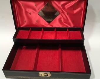 Locking Jewelry Box Hollywood Stars Black Gold Tiered Vintage Storage With Key