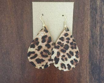 Small Print Leopard Leather Earrings