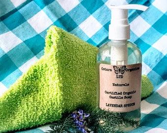 Lavendar Spruce Castile Liquid Soap, Lavendar Spruce Soap, Liquid Castile Soap, Liquid Soap, Certified Organic Soap, Liquid Shower Soap