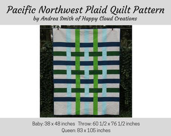 Pacific Northwest Plaid Quilt PDF Pattern, Baby, Throw, Queen, Quick, Easy, beginner pattern, digital, quilter, modern quilt