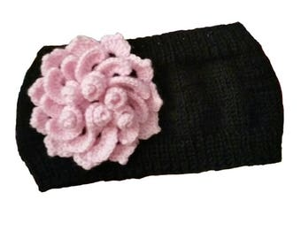 Knit Winter Headband  Ear Warmer, Girls Winter Ear Warmer with Red Flower, Black Winter Headbands Earwarmer, Pink Flower Spring Head band