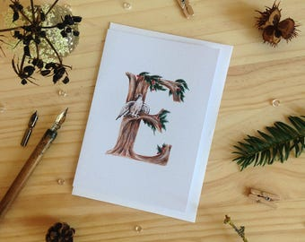 Forest Alphabet E Card - Initial Card