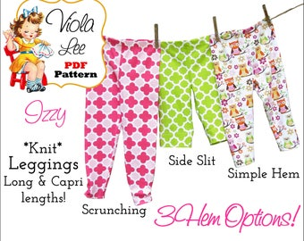 Izzy Toddlers Leggings Sewing Pattern. Long & Capri lengths. Baby kNIT Pant Pattern. Girl's Sewing Pattern. Toddler Sewing Pattern. PDF