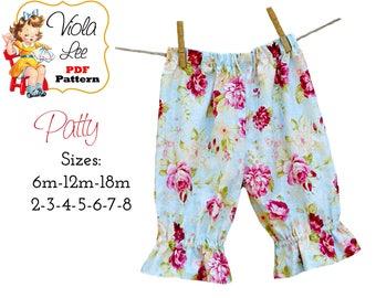 Patty, Girl's Ruffle Pants Pattern, Ruffle Capris Pattern, Girl's Sewing Pattern, Toddler Pattern, Toddler Pant Tutorial, INSTANT DOWNLOAD