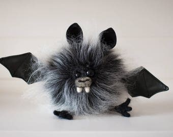 SKRAGGLES -Plush Bat, OOAK Bat Soft Sculpture, Fibre Art, Plush, Halloween