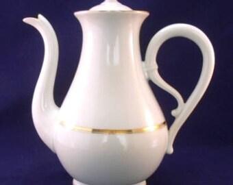 Coffee Pot, Epiag Czechoslovakia, White and Gold