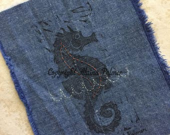 Handprinted Hand Carved Nautical Beach Ocean Seahorse on Denim Fabric Label Patch with Embroidery Stitched Wave Details Coral Aqua