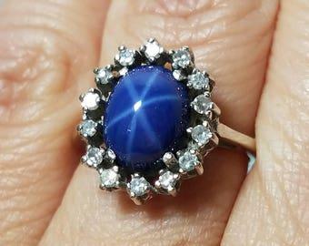 Vintage 18k Star Sapphire & Diamond Princess Ring