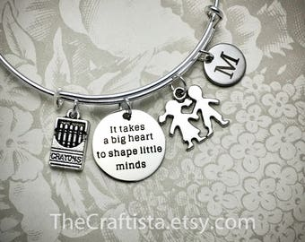 Reserved Listing for Mr. Stafford -- 70 PCS of Personalized Teacher Adjustable Bangle, Teacher's Gift, Teacher Jewelry