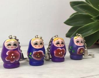 Purple nesting doll, wooden keyring, russian doll gift, doll keyring, wooden christmas, doll keyring, matryoshka doll, christmas gift etsy