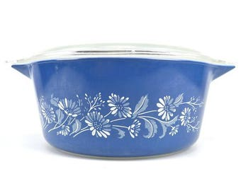 Vintage Pyrex Colonial Mist 2.5 Quart Covered Casserole Dish 475-B Clear Lid Ovenware 475-B Blue and White Daisy