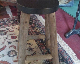 Sturdy Adirondack Stool with Thick Wooden Seat