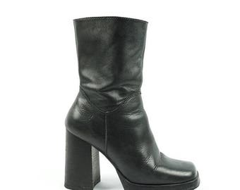 ON SALE Platform Mid 90s X-File Boot, Black Leather Mid Calf Boots By Candies, Zip-Up Tall Vintage Boots, Women's Size 7.5