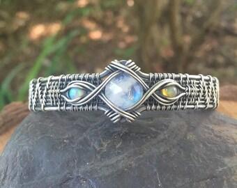 On Sale Wire Wrap Bracelet - Opal Bracelet - Moonstone Bracelet - Woven Cuff - Sterling Silver Bracelet - Wire Wrapped Jewelry - Sweet Water