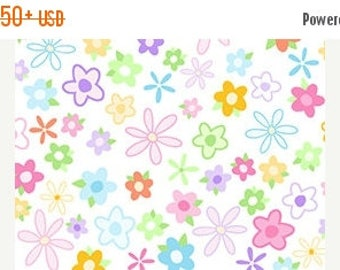 ON SALE Floral Fabric, Tutu Cute by Quilting Treasures, Flowers, Children Fabric, 02165