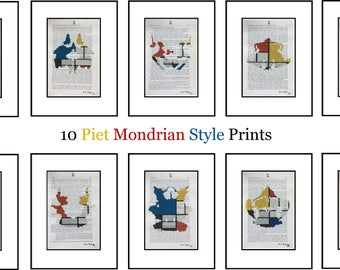 10 Piet Mondrian Style Hermann Rorschach Inkblot Test Prints Doctor Psychology Psychiatry Freud Gift Mental Medical Dictionary Book Art