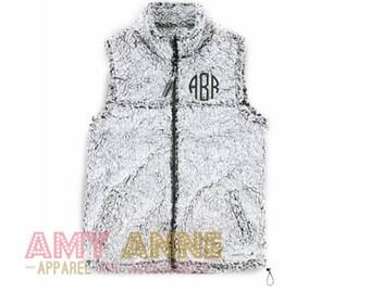 Monogrammed Sherpa Full Zip Vest