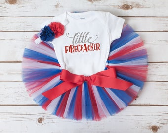 Little firecracker outfit, 4th of july outfit girl, littel firecracker birthday, baby girl fourth of july, fourth of july tutu outfit girls