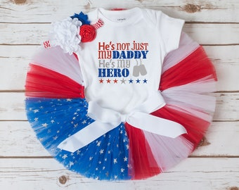 Daddy is my hero outfit, Welcome home daddy, Deployment homecoming outfit, Fourth of July outfit, flag tutu, baby girl toddler girl tutu