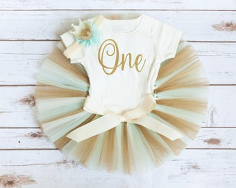 Mint and gold birthday 'Kyla Gold' mint and gold first birthday outfit girl mint gold birthday tutu set crown headband first birthday tutu
