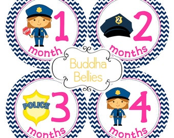 Police Baby Girl Month Stickers - Baby Monthly Stickers - Patrol Officer Cops First Responder Baby - Monthly Milestone Stickers - Baby Decal