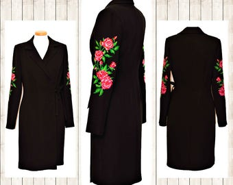 Black Bohemian Dress , Wrap Dress , Rose Wrap Dress , Christmas  Embroidery Dress ,Rich Embroidery Dress ,Handcrafted Embroidery Rose Dress