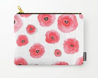 Poppy Flowers, Pencil Case, Red Flowers , Leaves, Cosmetic Bag, Floral Pencil Case, Floral Print, Pouch, Zipper Pouch, Organizer, Small Bag