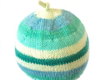 Hand Knit Newborn Baby Beanie, Unisex Baby Beanie, Newborn Beanie, Teal-Blue-White Beanie, Hand Knit Super-wash Baby Beanie, Newborn Hat