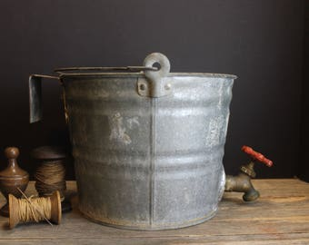 Vintage Galvanized Bucket With Faucet and Hanger // Old Rustic Farm House Pail