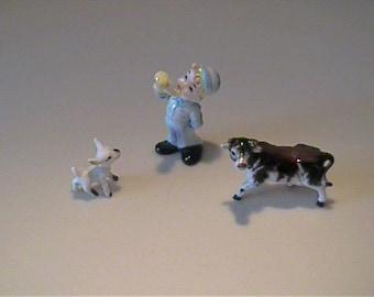 Vintage 1960's miniature bone china nursery rhyme Little Boy Blue
