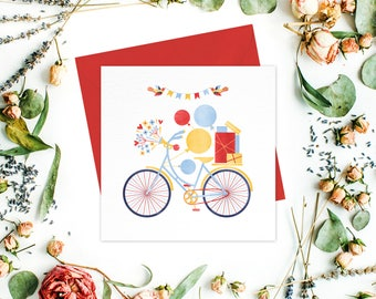 Bicycle Greeting card / greeting cards set:Birthday Cards, Baby Shower Cards, Kids Birthday, Thank you cards, Friend cards, Get well cards