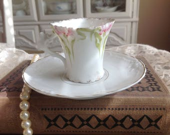 Exquisite Petite Demitasse Dainty and Fragile Art Nouveau Pattern and Square Shape of Pink Flower