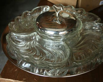 1960s, Mid Century Spinning Lazy Susan Serving Tray, Covered Dip, Glass Serving, Chrome Serving Tray, Kitchen, Wedding, Home Decor