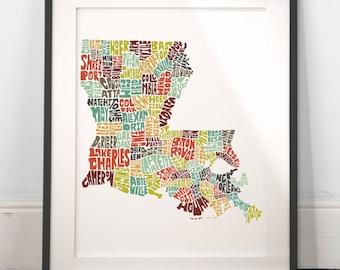 Louisiana typography map, louisiana map art, louisiana art print, louisiana poster, louisiana gift idea, hand drawn state typography series