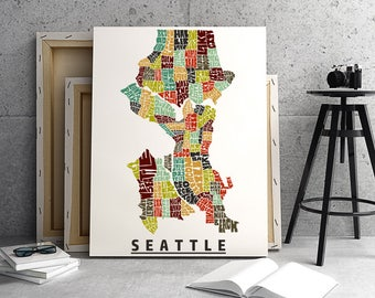Seattle neighborhoods canvas print, Seattle map art print, Seattle typography art, Seattle décor, Seattle art gallery wrapped canvas