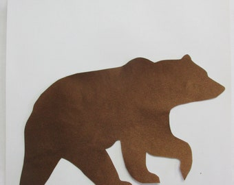 left facing, brown bear appliqués, native american style