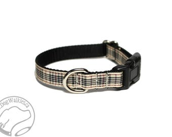 "NEW width- Blackberry Tartan Small Dog Collar - Thin Dog Collar - 1/2"" (12mm) Wide - Tan Plaid - Choice of style and size"