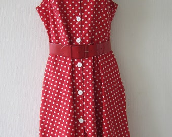 50' Style Red Spotted Cotton Dress