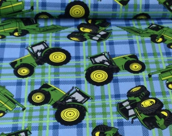plaid Tractor John Deere green blue Fabric by the yard
