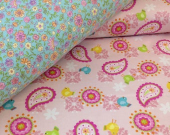 Paisley flower bird pink blue Flannel fabric, top quality, quilting flannel, Easter fabric, fabric by the yard