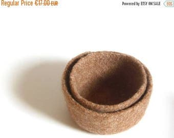 ON SALE WOOLY Felted Bowls - two felted nesting bowls - sandy brown 6