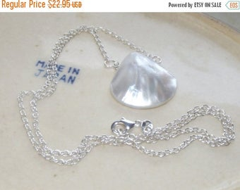 ON SALE Mother of Pearl Shell Necklace - Silver Necklace - Mother of Pearl Necklace - Shell Necklace - Wedding Jewelry - Bridesmaid Jewelry