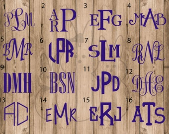 Permanent Vinyl Monogram Decals-Multiple Size options and Font Choices, Mix and Match Fonts and Frames!