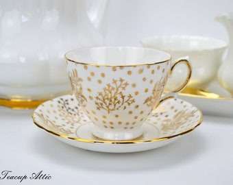 Royal Malvern Vintage Gold And White Teacup And Saucer Set, Wedding Gift, English Bone China Teacup, ca. 1960